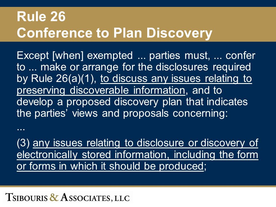 9 Rule 26 Conference to Plan Discovery Except [when] exempted...