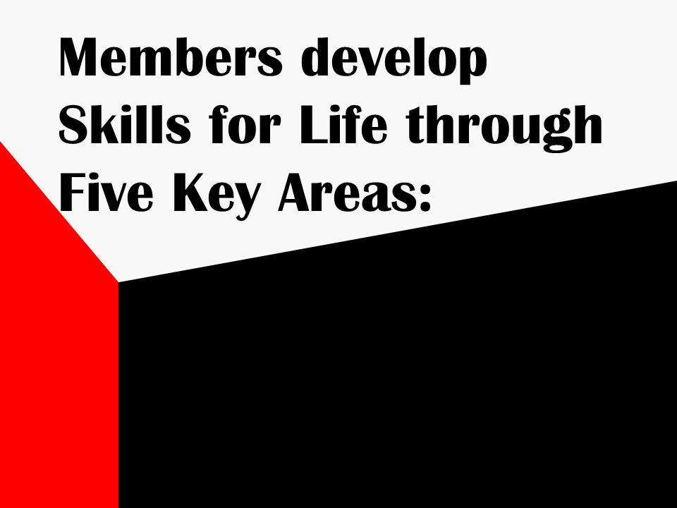 Members develop Skills for Life through Five Key Areas: