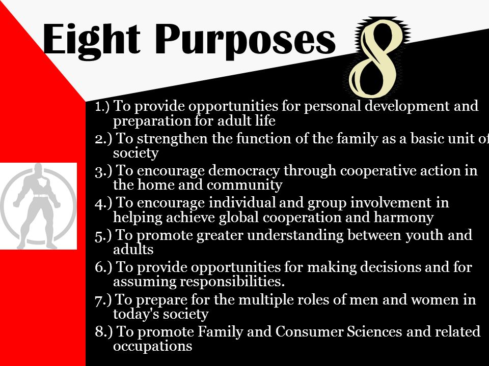 Eight Purposes 1.) To provide opportunities for personal development and preparation for adult life 2.) To strengthen the function of the family as a