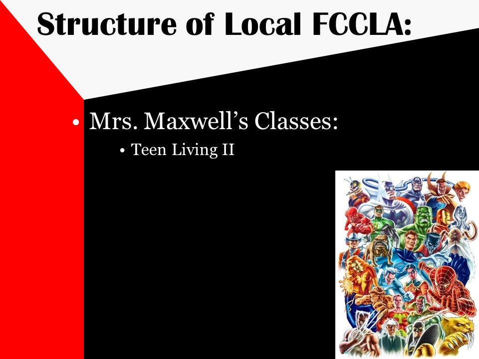 Structure of Local FCCLA: Mrs. Maxwells Classes: Teen Living II