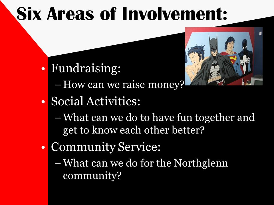 Six Areas of Involvement: Fundraising: –How can we raise money? Social Activities: –What can we do to have fun together and get to know each other bet