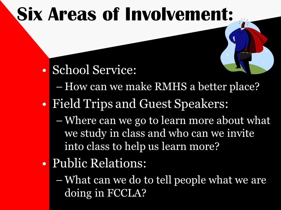 Six Areas of Involvement: School Service: –How can we make RMHS a better place? Field Trips and Guest Speakers: –Where can we go to learn more about w