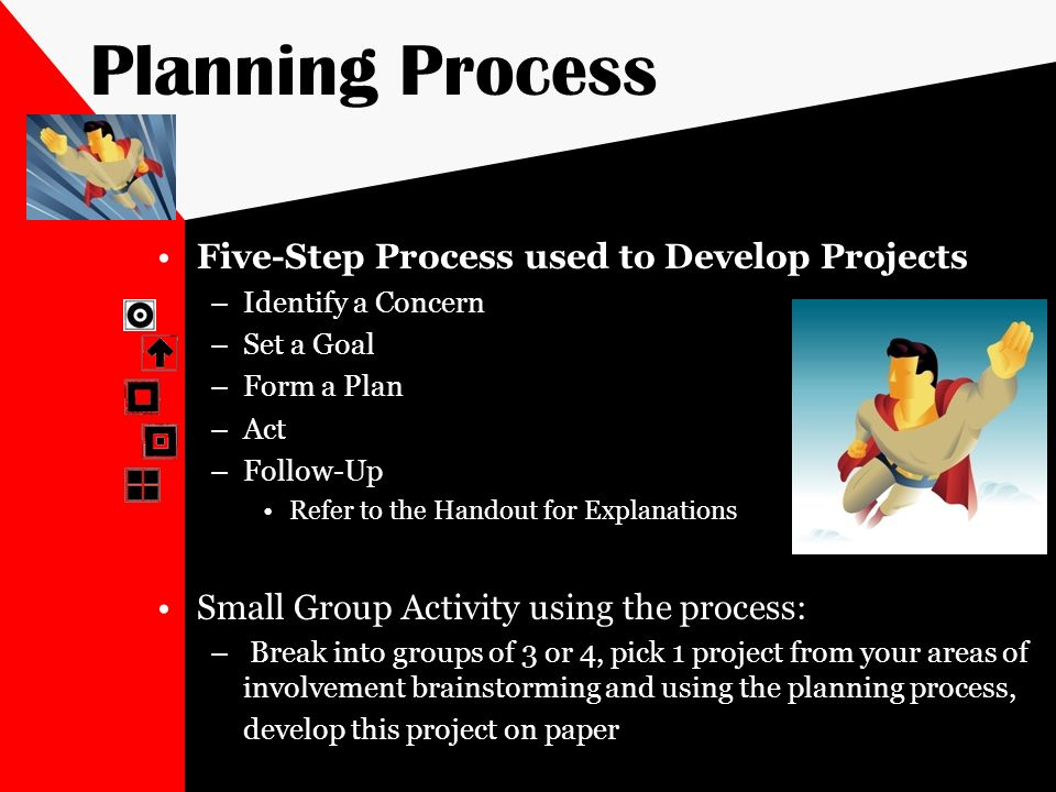 Planning Process Five-Step Process used to Develop Projects –Identify a Concern –Set a Goal –Form a Plan –Act –Follow-Up Refer to the Handout for Expl