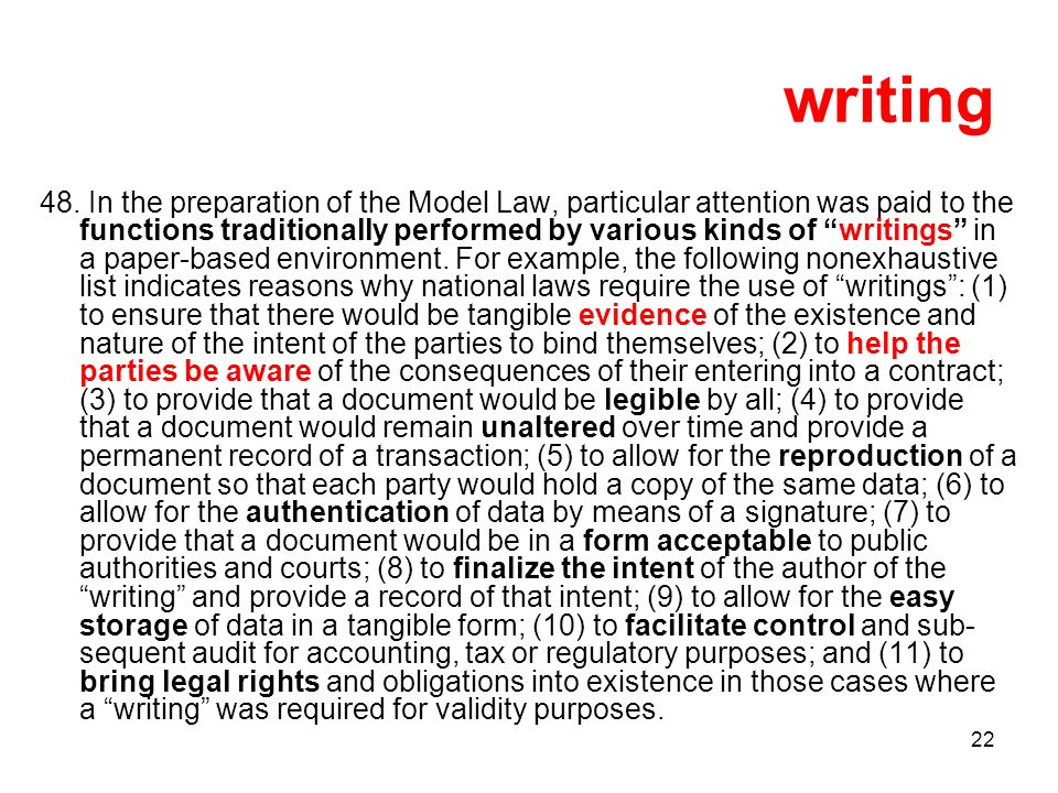 22 writing 48. In the preparation of the Model Law, particular attention was paid to the functions traditionally performed by various kinds of writing