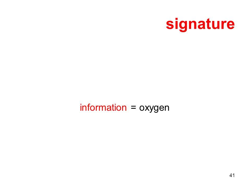 41 signature information = oxygen