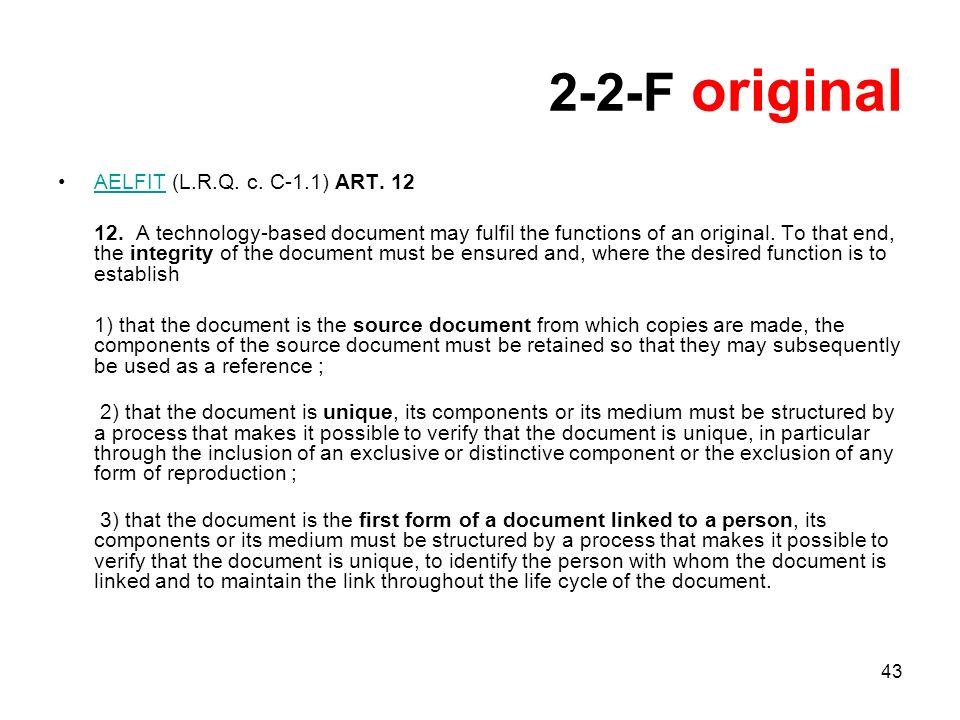 43 2-2-F original AELFIT (L.R.Q. c. C-1.1) ART. 12AELFIT 12.