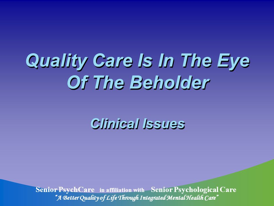Senior PsychCare in affiliation with Senior Psychological Care A Better Quality of Life Through Integrated Mental Health Care A Study of Disclosure of Dementia by Professionals Only 44% of psychiatrists inform patients 56% professionals in memory clinics disclose diagnosis 75% geriatricians and geriatric psychiatrists disclose AD or dementia Stage of dementia predicting variable 39% general practitioners disclose dx 50% PRACTITIONERS DO NOT DISCLOSE DEMENTIA DIAGNOSIS