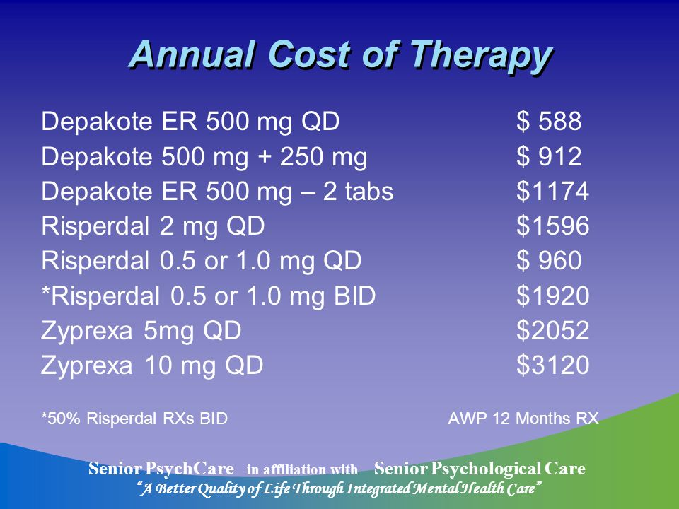 Senior PsychCare in affiliation with Senior Psychological Care A Better Quality of Life Through Integrated Mental Health Care Annual Cost of Therapy Depakote ER 500 mg QD$ 588 Depakote 500 mg + 250 mg$ 912 Depakote ER 500 mg – 2 tabs$1174 Risperdal 2 mg QD$1596 Risperdal 0.5 or 1.0 mg QD$ 960 *Risperdal 0.5 or 1.0 mg BID$1920 Zyprexa 5mg QD$2052 Zyprexa 10 mg QD$3120 *50% Risperdal RXs BIDAWP 12 Months RX