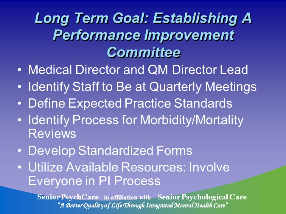 Senior PsychCare in affiliation with Senior Psychological Care A Better Quality of Life Through Integrated Mental Health Care Long Term Goal: Establishing A Performance Improvement Committee Medical Director and QM Director Lead Identify Staff to Be at Quarterly Meetings Define Expected Practice Standards Identify Process for Morbidity/Mortality Reviews Develop Standardized Forms Utilize Available Resources: Involve Everyone in PI Process