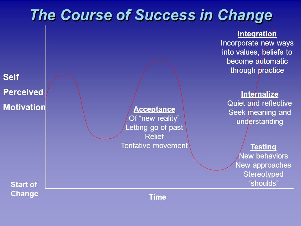 The Course of Success in Change Self Perceived Motivation Start of Change Time Acceptance Of new reality Letting go of past Relief Tentative movement Testing New behaviors New approaches Stereotyped shoulds Internalize Quiet and reflective Seek meaning and understanding Integration Incorporate new ways into values, beliefs to become automatic through practice