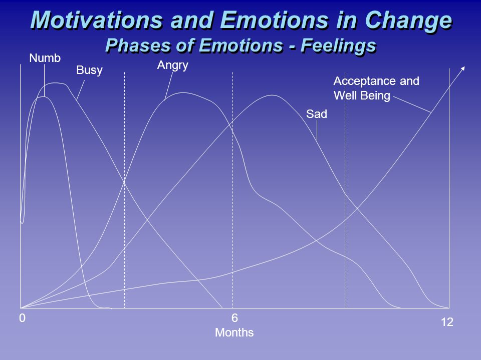 Motivations and Emotions in Change Phases of Emotions - Feelings 06 Months 12 Numb Busy Angry Sad Acceptance and Well Being