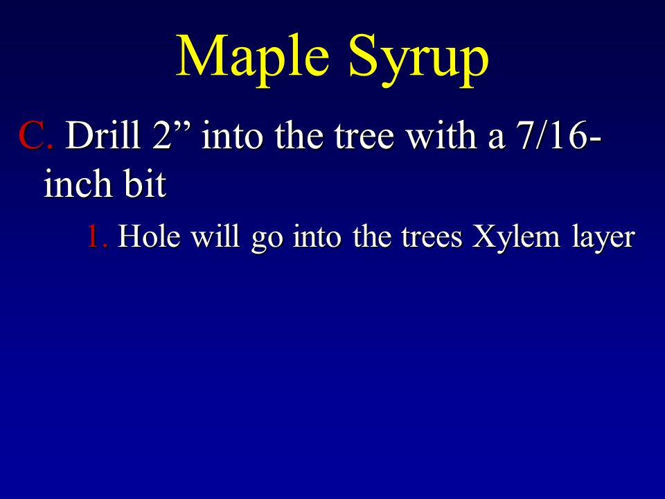 Maple Syrup C. Drill 2 into the tree with a 7/16- inch bit 1.