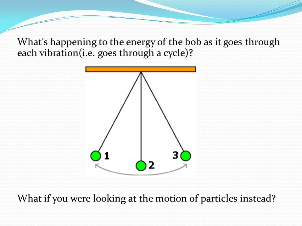 Whats happening to the energy of the bob as it goes through each vibration(i.e. goes through a cycle)? What if you were looking at the motion of parti