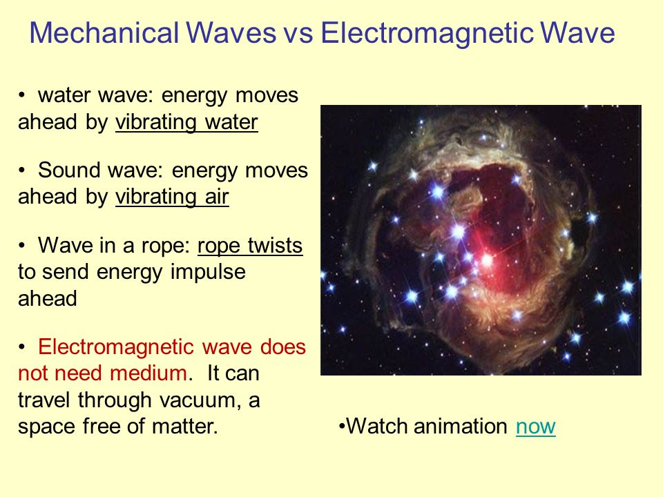 water wave: energy moves ahead by vibrating water Sound wave: energy moves ahead by vibrating air Wave in a rope: rope twists to send energy impulse a