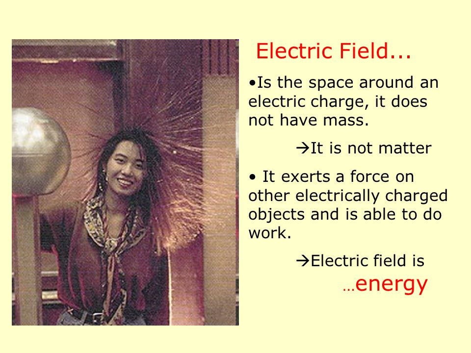 Electric Field... Is the space around an electric charge, it does not have mass. It is not matter It exerts a force on other electrically charged obje