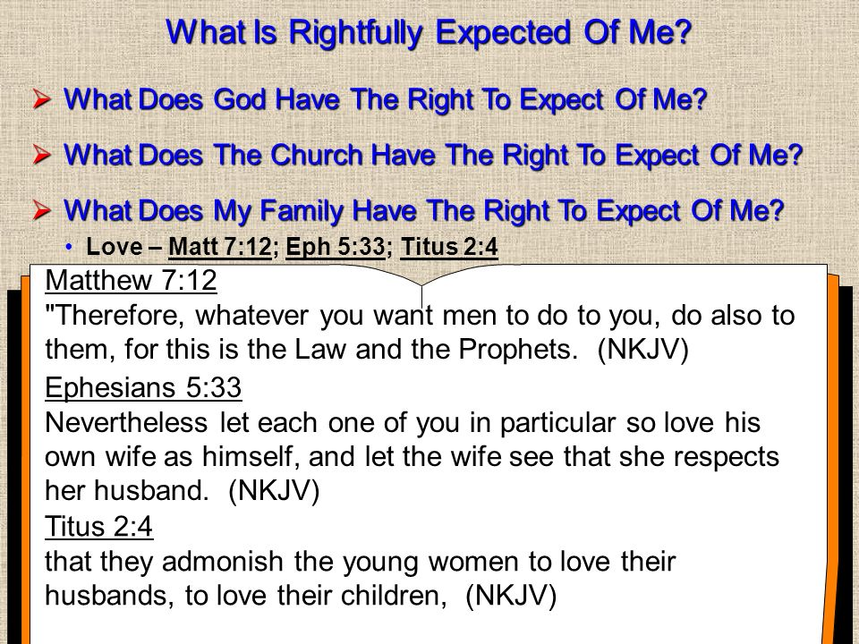 What Is Rightfully Expected Of Me. What Does God Have The Right To Expect Of Me.