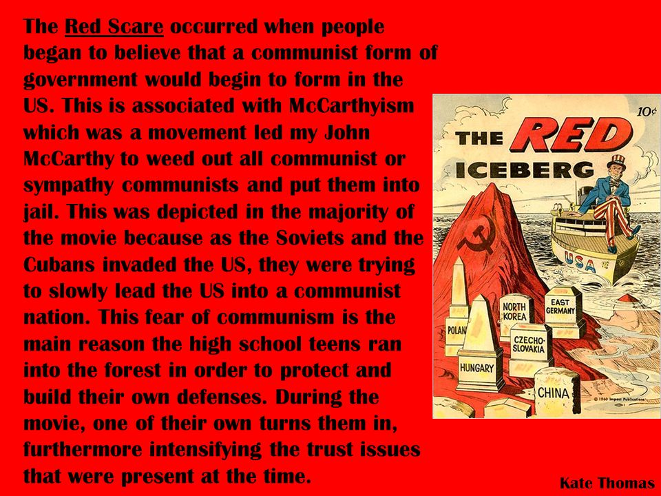 The Red Scare occurred when people began to believe that a communist form of government would begin to form in the US.