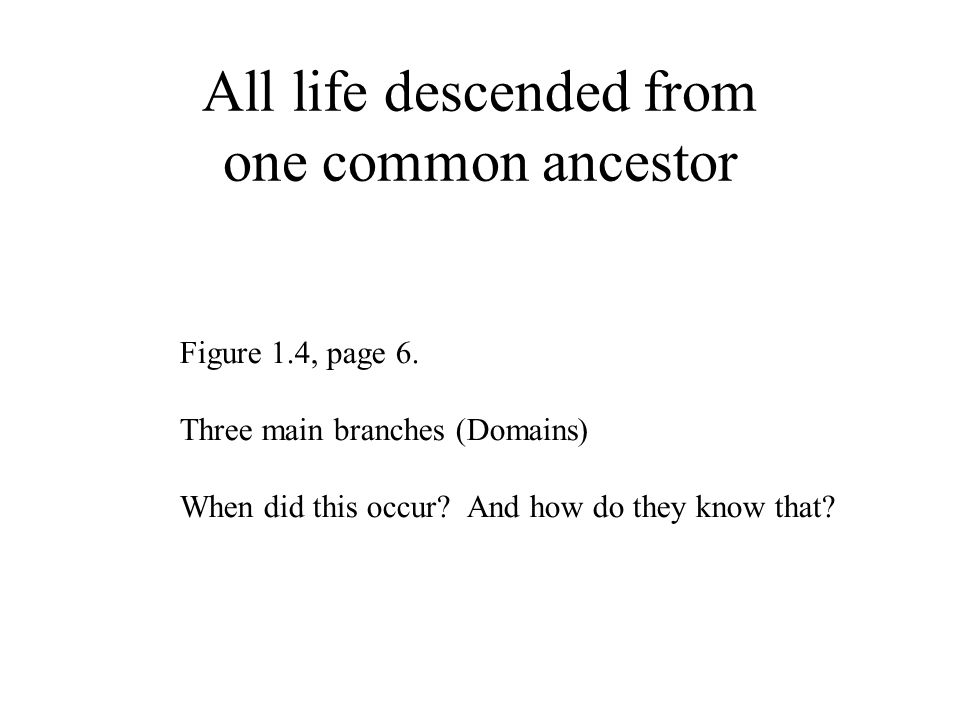 All life descended from one common ancestor Figure 1.4, page 6.