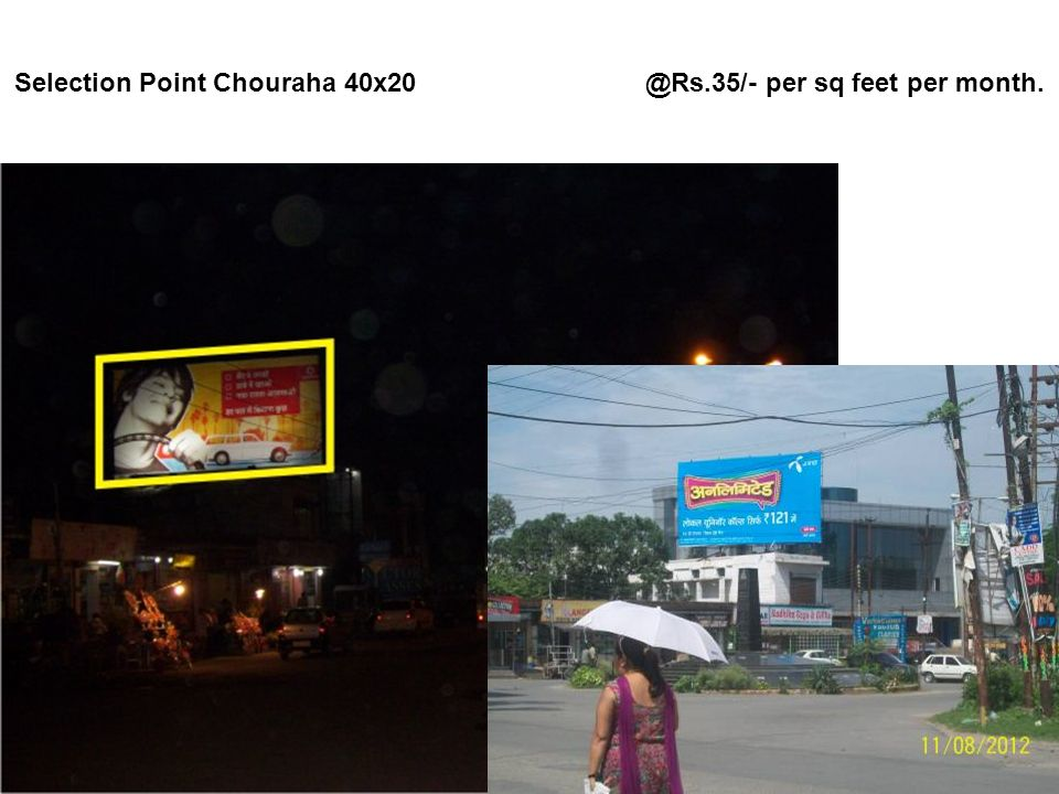 D D Puran Chouraha 36x24 @Rs.30/-per sq feet per month.