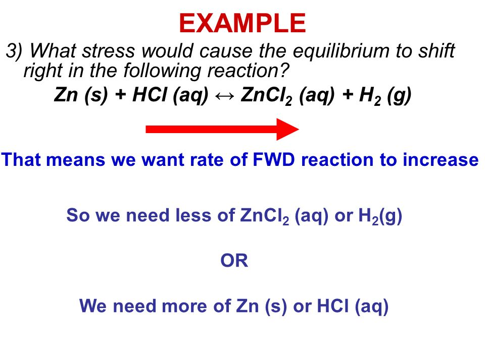 EXAMPLE 3) What stress would cause the equilibrium to shift right in the following reaction.