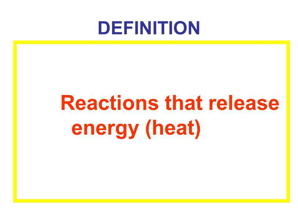 DEFINITION Reactions that release energy (heat)