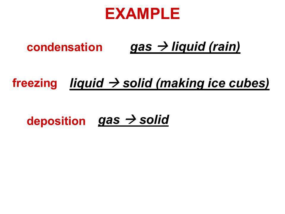EXAMPLE gas liquid (rain) liquid solid (making ice cubes) gas solid condensation freezing deposition