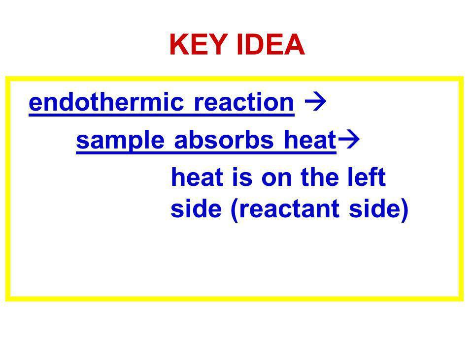 KEY IDEA endothermic reaction sample absorbs heat heat is on the left side (reactant side)