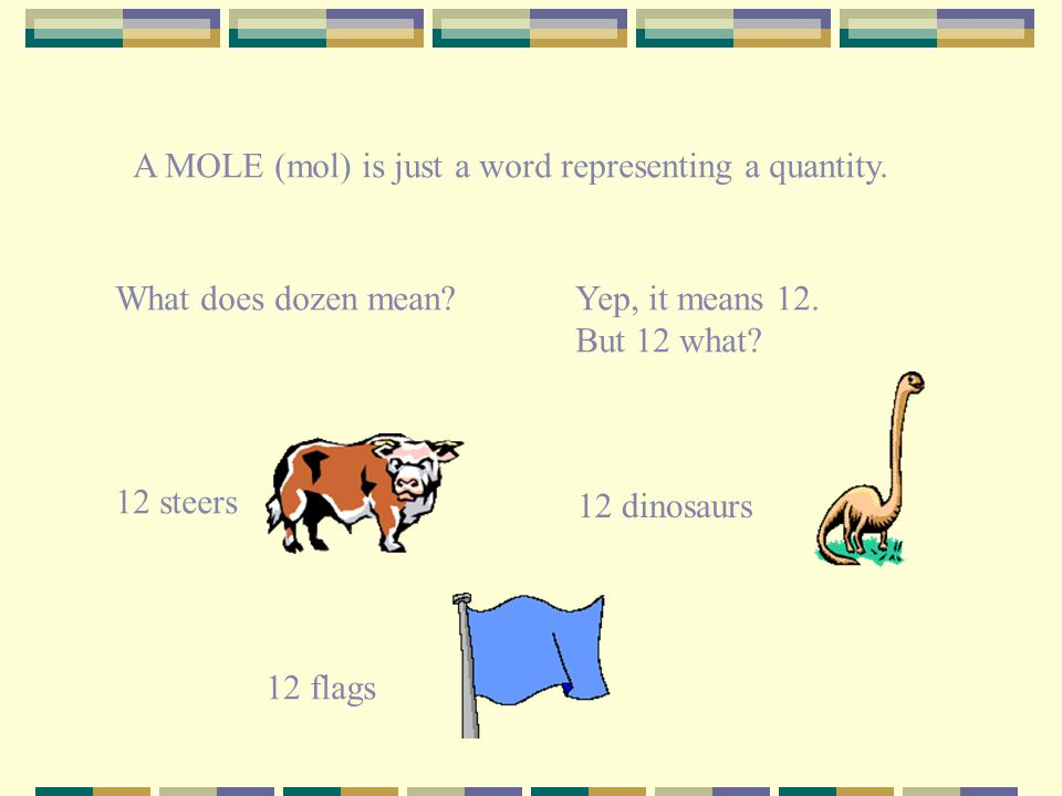 A MOLE (mol) is just a word representing a quantity.