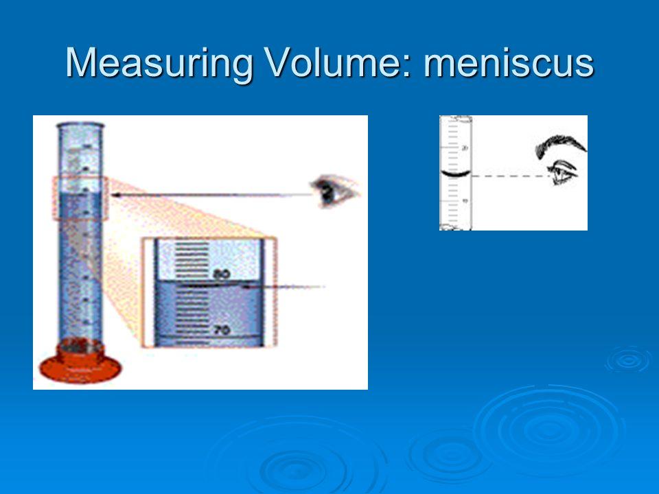 Measuring Volume: meniscus