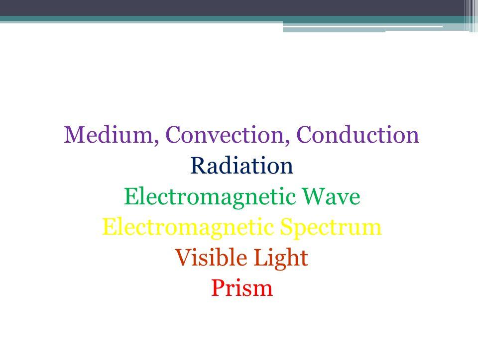 Vocabulary! Medium, Convection, Conduction Radiation Electromagnetic Wave Electromagnetic Spectrum Visible Light Prism