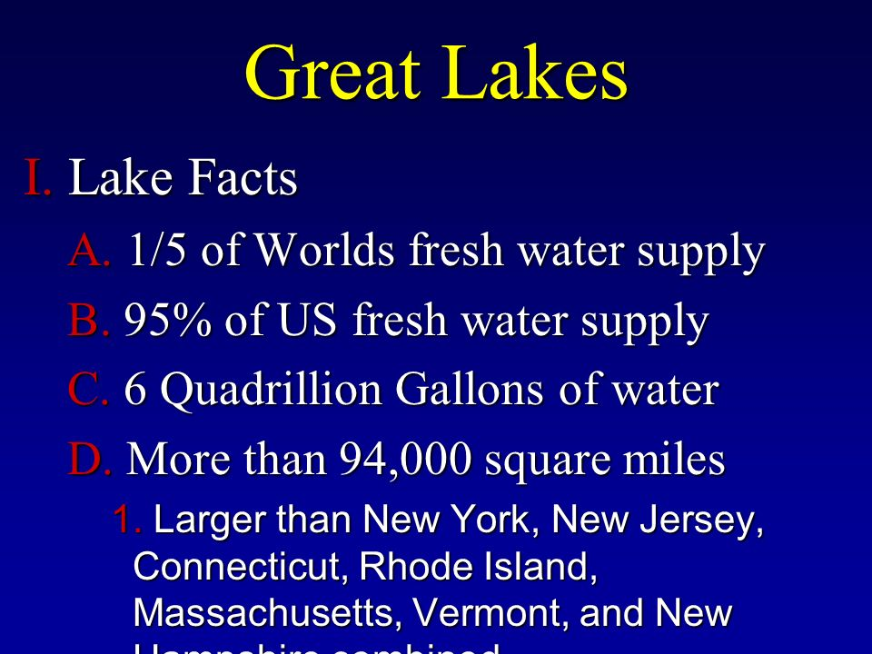 Great Lakes I. Lake Facts A. 1/5 of Worlds fresh water supply B.