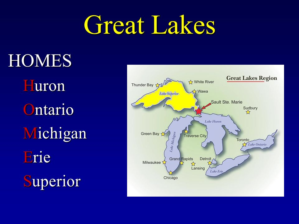 Great Lakes HOMES Huron Ontario Michigan Erie Superior