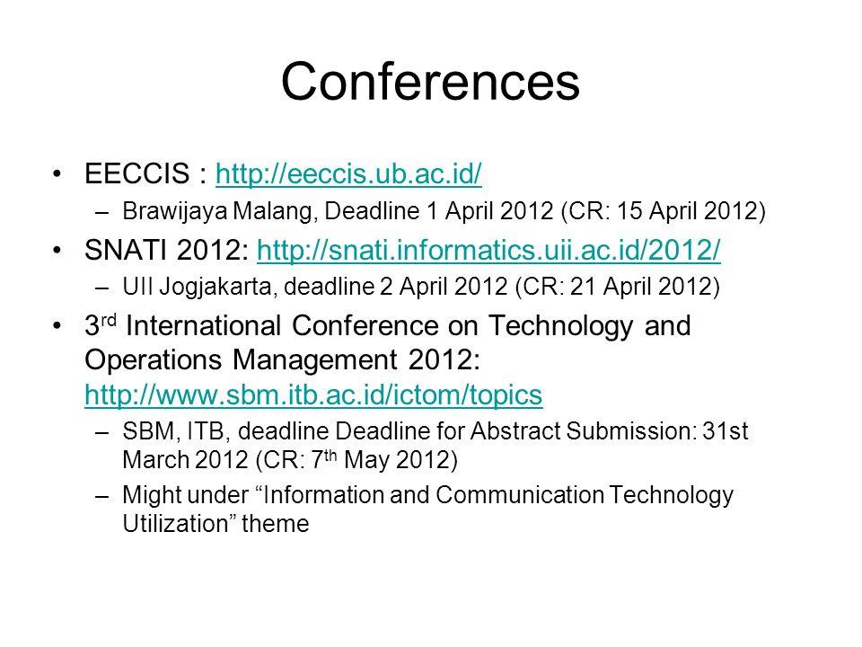 Conferences EECCIS : http://eeccis.ub.ac.id/http://eeccis.ub.ac.id/ –Brawijaya Malang, Deadline 1 April 2012 (CR: 15 April 2012) SNATI 2012: http://sn