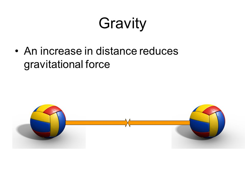 Gravity An increase in distance reduces gravitational force