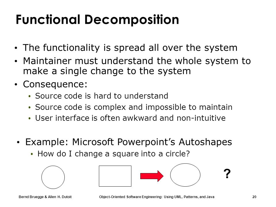 Bernd Bruegge & Allen H. Dutoit Object-Oriented Software Engineering: Using UML, Patterns, and Java 20 Functional Decomposition The functionality is s