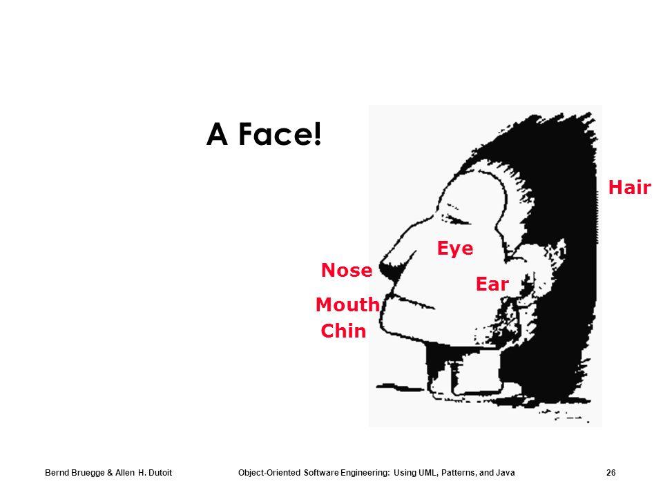 Bernd Bruegge & Allen H. Dutoit Object-Oriented Software Engineering: Using UML, Patterns, and Java 26 Nose Eye Ear Chin Mouth Hair A Face!