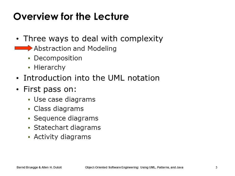 Bernd Bruegge & Allen H. Dutoit Object-Oriented Software Engineering: Using UML, Patterns, and Java 3 Overview for the Lecture Three ways to deal with