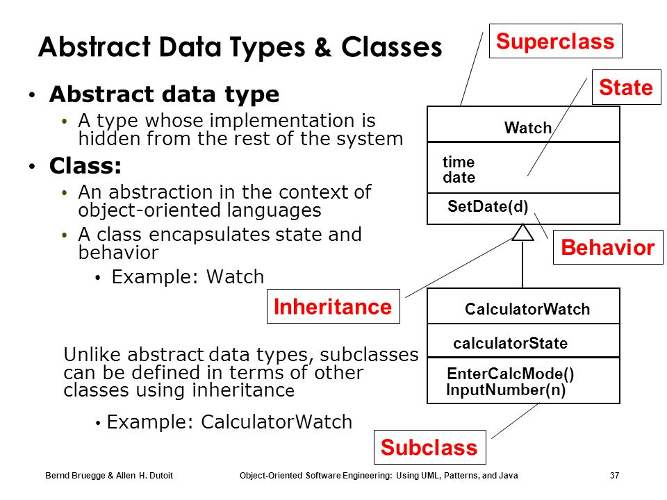 Bernd Bruegge & Allen H. Dutoit Object-Oriented Software Engineering: Using UML, Patterns, and Java 37 Abstract Data Types & Classes Abstract data typ