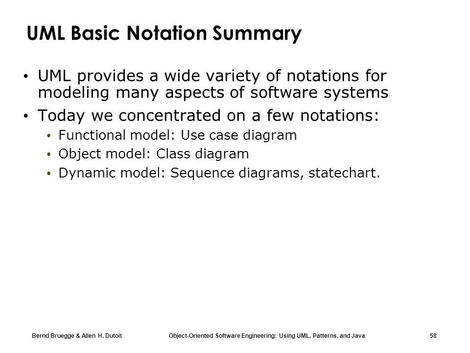 Bernd Bruegge & Allen H. Dutoit Object-Oriented Software Engineering: Using UML, Patterns, and Java 58 UML Basic Notation Summary UML provides a wide