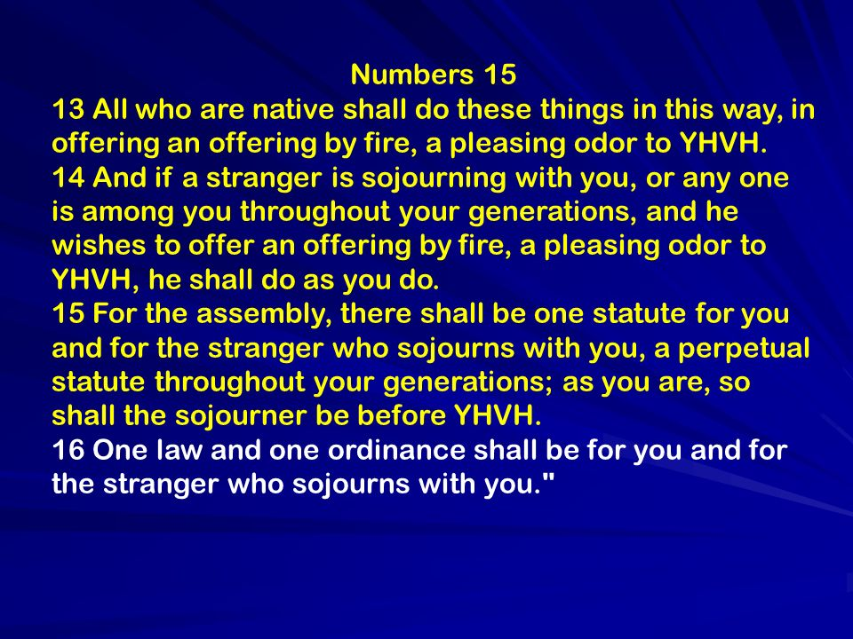 Numbers 15 13 All who are native shall do these things in this way, in offering an offering by fire, a pleasing odor to YHVH. 14 And if a stranger is