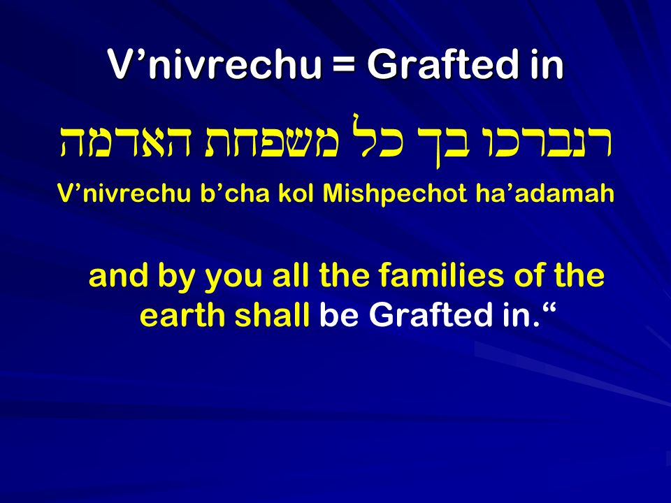 Vnivrechu = Grafted in hmdah txpvm lk Kb wkrbnr Vnivrechu bcha kol Mishpechot haadamah and by you all the families of the earth shall be Grafted in.