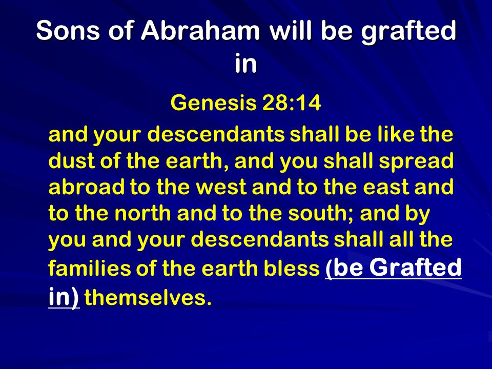 Sons of Abraham will be grafted in Genesis 28:14 and your descendants shall be like the dust of the earth, and you shall spread abroad to the west and