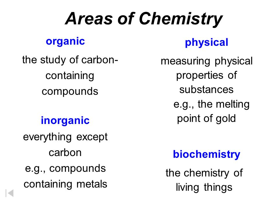 Areas of Chemistry Organic Inorganic Analytical Physical Biochemistry The study of most carbon-containing compounds The study of all substances not classified as organic, mainly those compounds that do not contain carbon The identification of the components and composition of materials The study of the properties, changes, and relationships between energy and matter The study of substances and processes occurring in living things