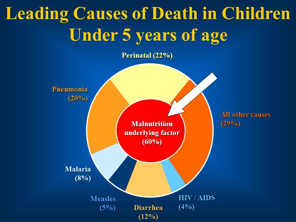 Leading Causes of Death in Children Under 5 years of age Perinatal (22%) All other causes (29%) HIV / AIDS (4%) Diarrhea (12%) Measles (5%) Malaria (8