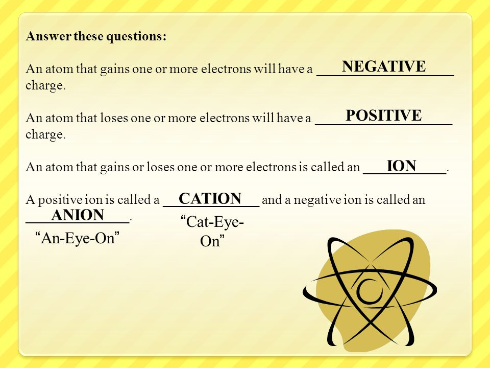 Answer these questions: An atom that gains one or more electrons will have a ____________________ charge. An atom that loses one or more electrons wil