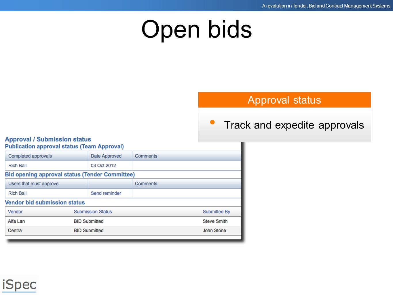A revolution in Tender, Bid and Contract Management Systems Approval status Open bids Track and expedite approvals