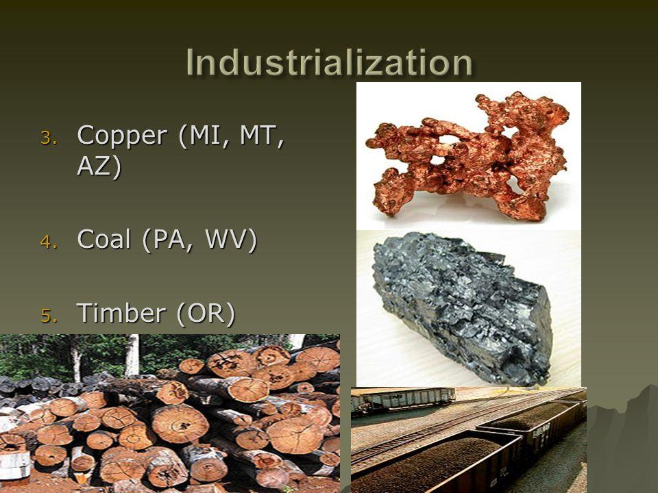 3. Copper (MI, MT, AZ) 4. Coal (PA, WV) 5. Timber (OR)