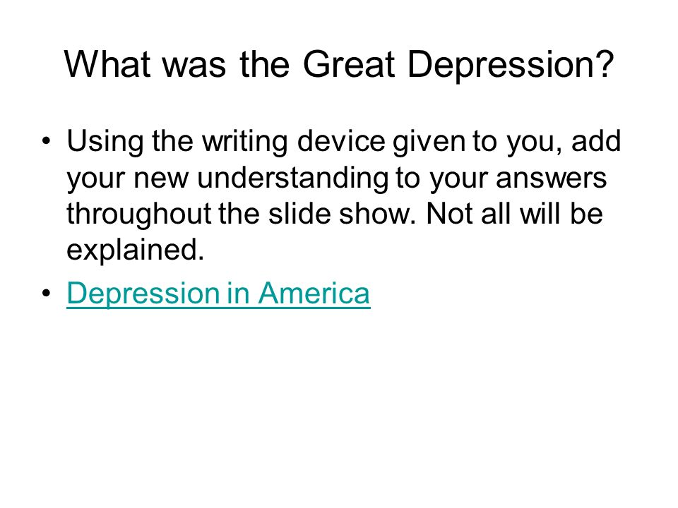 What was the Great Depression.