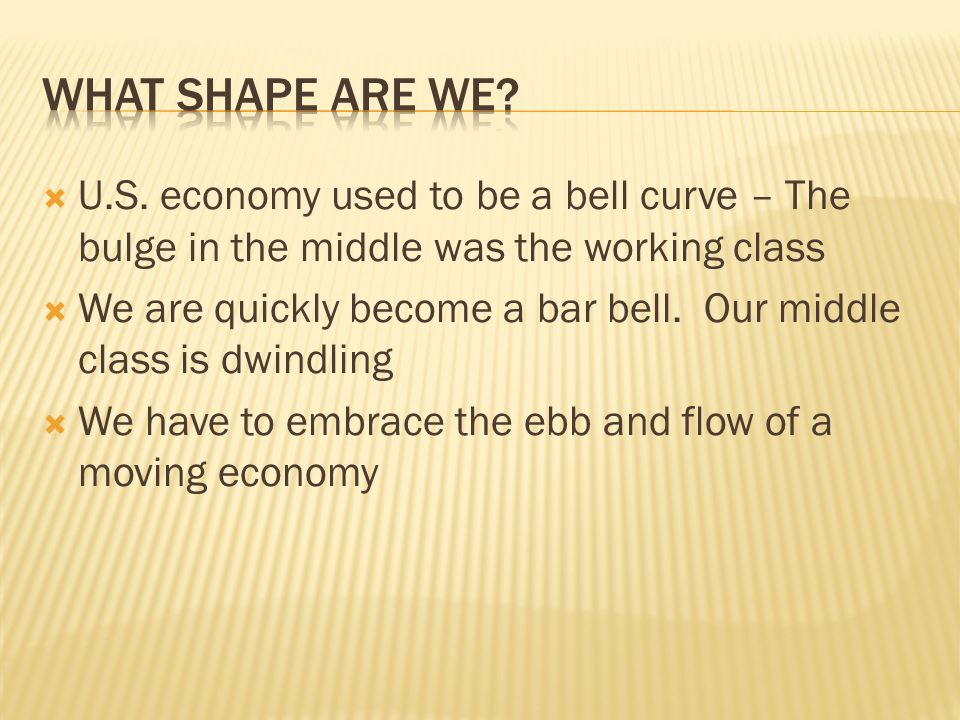 U.S. economy used to be a bell curve – The bulge in the middle was the working class We are quickly become a bar bell. Our middle class is dwindling W