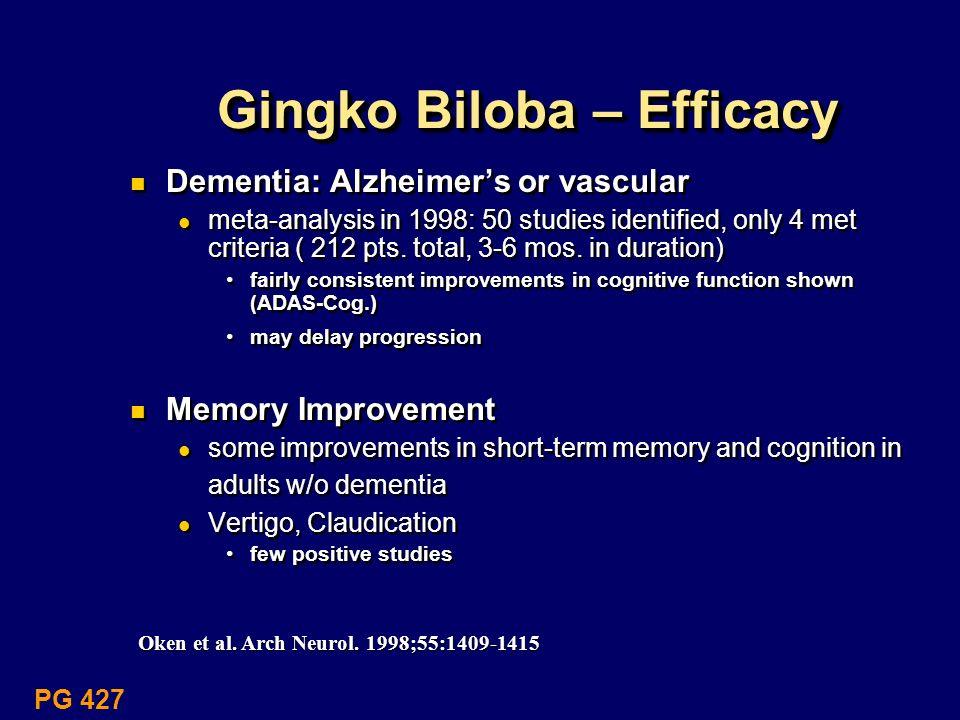 Gingko Biloba – Efficacy Dementia: Alzheimers or vascular meta-analysis in 1998: 50 studies identified, only 4 met criteria ( 212 pts. total, 3-6 mos.
